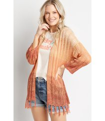 maurices womens sunset ombre fringe cardigan