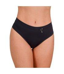 calcinha cintura alta vip lingerie elástico barra 25 preto