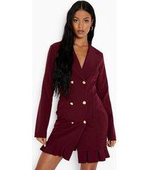 tall geweven blazer jurk met geplooide zoom, wine