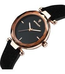 sanda orologio da donna in pelle con cinturino in vera pelle, orologio da polso con diamanti