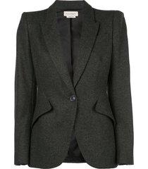 alexander mcqueen fitted blazer - grey