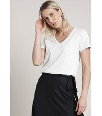 blusa feminina listrada com lurex manga curta decote v off white