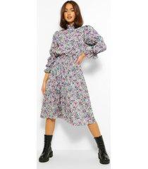 bloemenprint skater jurk met hoge kraag en pofmouwen, purple