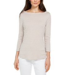 charter club 3/4-sleeve striped top, created for macy's