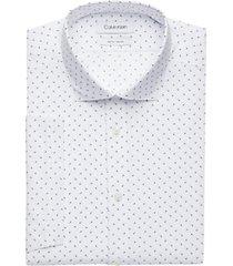 calvin klein blue horizon geometric slim fit short sleeve dress shirt