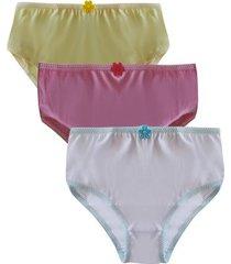 kit 3 calcinhas sortidas infantis de algodão