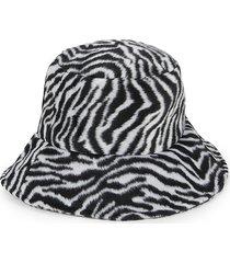 marcus adler women's zebra-print faux fur bucket hat - black white