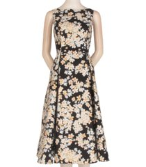 adrianna papell floral-print mikado fit & flare dress