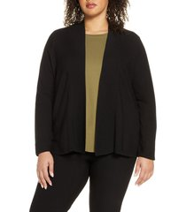 plus size women's eileen fisher horizontal ribbed open front cardigan