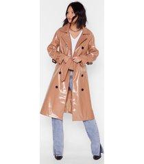 vinyl countdown belted trench coat