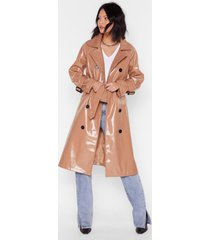 womens vinyl countdown belted trench coat - camel