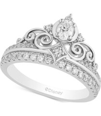 enchanted disney diamond cinderella tiara ring (1/2 ct. t.w.) in 14k white gold