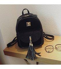 mochilas/ mochila de terciopelo mujeres borlas-negro