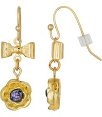 2028 gold-tone purple flower bow drop earrings