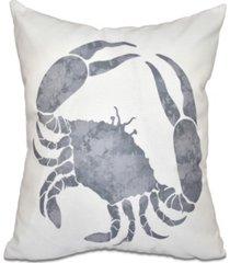 crab 16 inch gray decorative coastal throw pillow
