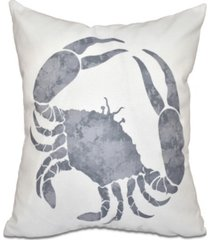 crab 16 inch gray decorative coastal throw pillow
