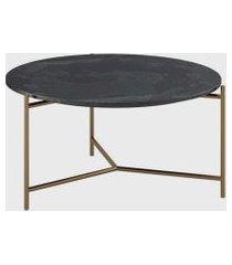 mesa centro lotus tampo mescla preto metal cor bronze volttoni