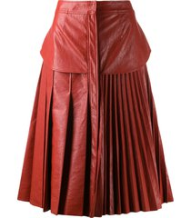 cédric charlier faux leather pleated skirt - orange