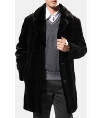 colletto di pelliccia per uomo inverno caldo sottile fit giacca casual cappotto medio lungo