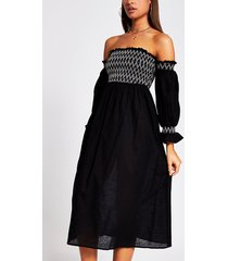 river island womens black cutwork shirred beach dress