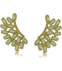 brinco de asas estilizada com cristais verde água 3rs semijoias dourado