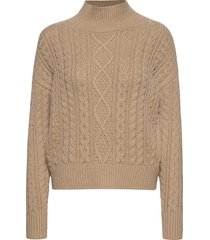 cable-knit cropped sweater stickad tröja beige banana republic