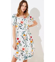 loft floral puff sleeve pocket midi dress