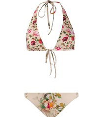 alberta ferretti reversible floral print halterneck bikini - neutrals