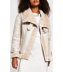 river island womens beige oversized shearling aviator jacket