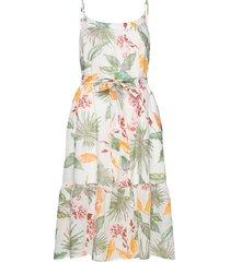 cami midi dress in linen-cotton knälång klänning multi/mönstrad gap