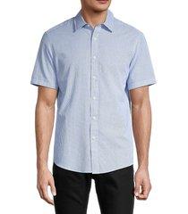 michael kors men's regular-fit check seersucker shirt - pop blue - size xxl