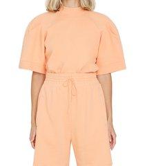 women's agolde the round shoulder oversize sweatshirt, size x-small - orange