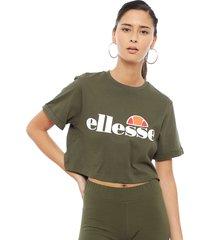 polera ellesse crop t-shirt alberta khaki - calce holgado