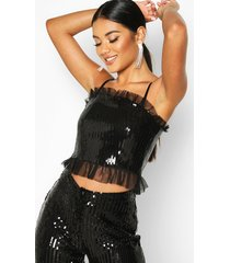 sequin + mesh ruffle cropped top, black