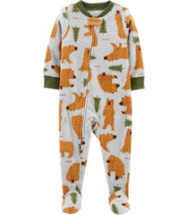 carter's toddler boy 1-piece bear fleece footie pjs