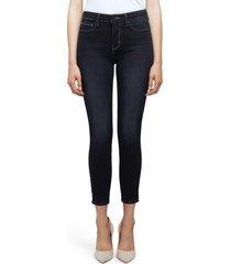 women's l'agence margot high waist crop skinny jeans, size 26 - blue