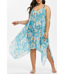 daisy floral swing handkerchief beach plus size dress