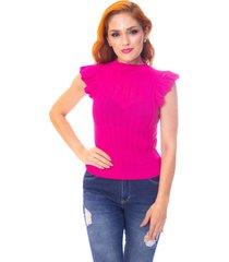 blusa moda vício trico regata com babado pink