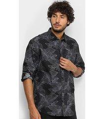 camisa manga longa la camizaria hibou floral masculina
