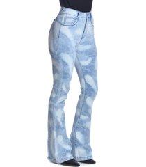 jeans tiro alto high waist flare 2840 azul amalia jeans