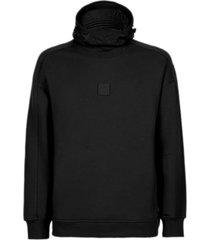 c.p. company black cotton fleece hoodie