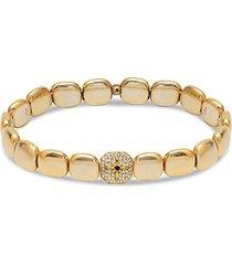 22k gold vermeil & cubic zirconia starburst chiclet bracelet