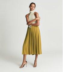reiss ariella - fine jersey pleated midi skirt in yellow, womens, size 14