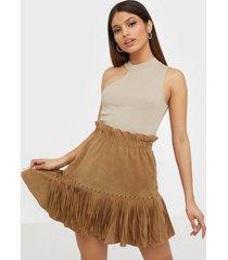 y.a.s yasanna hw suede fringe skirt - fes minikjolar
