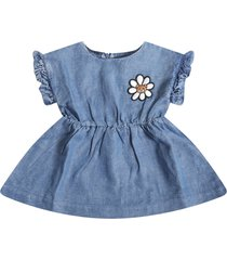 moschino light blue dress for babygirl with flower