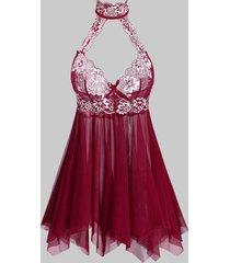 lace panel cut out sheer mesh plus size lingerie babydoll