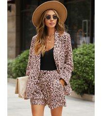 yoins traje de dos piezas de manga larga con cuello de solapa de leopardo