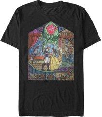 disney men's beauty and the beast glass portrait short sleeve t-shirt