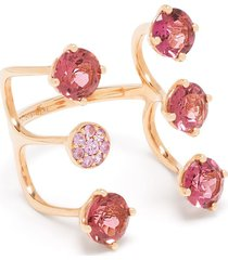 stefere 18kt rose gold sapphire cage ring - pink