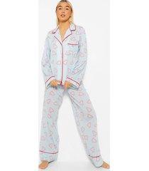 mix & match candy cane pyjama broek, blue